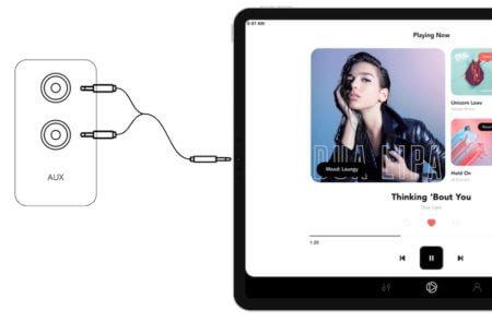 Soundsuit App auf ipad mit HiFi-Verstärker über Stereo-Kabel verbunden